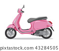 Vector pink retro scooter, flat style side view. 43284505