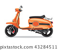 Vector orange retro scooter, flat style side view. Moped for delivery, scooter for tourism 43284511