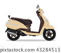 Vector beige modern scooter, flat style side view. 43284513