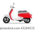 Vector red and white retro scooter, flat style side view. 43284515