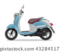 Vector blue retro scooter, flat style side view. 43284517