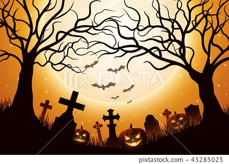 Halloween background with pumpkins 43285025