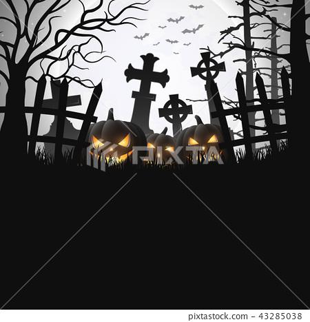 Halloween background with pumpkins 43285038
