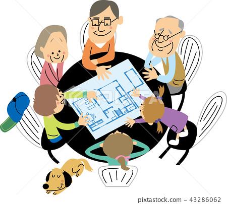 두 주택의 상담을하는 대가족 43286062