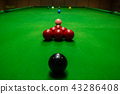 Snooker ball on snooker table, game on table. 43286408