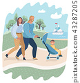 Parents and child in pram or carriage walk in park 43287205
