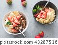 yogurt, banana, strawberry 43287516