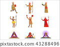 Different Cultures Shamans And Gypsy Fortune-Tellers Set Of Cartoon Characters Performing Occult 43288496