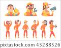 Racing Team Members In Orange Uniform Including Driver and Pit Stop Technicians Team Set of Cartoon 43288526