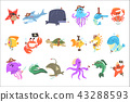 Marine Animals And Underwater Wildlife With Pirate Accesories And Attributes Set Of Comic Cartoon 43288593