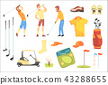 Three Golfers Playing Golf Surrounded By Sport Equipment And Game Attributes Cartoon Vector 43288655