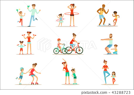 Parent And Child Doing Sportive Exercises And Sport Training Together Having Fun Set Of Scenes 43288723