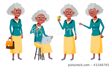 Old Woman Poses Set Vector. Black. Afro American. Elderly People. Senior Person. Aged. Friendly 43288785