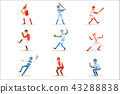 Professional League Baseball Players On The Field Playing Baseball, Sportsmen In Uniform Set Of 43288838