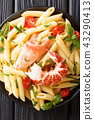 Served Penne pasta with red lobster meat 43290413
