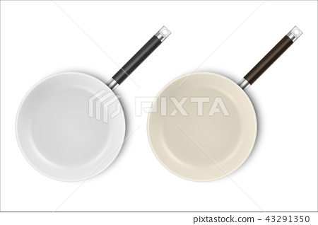 Vector realistic 3d empty non-stick, enamel cover surface frying pan icon set in top view closeup 43291350