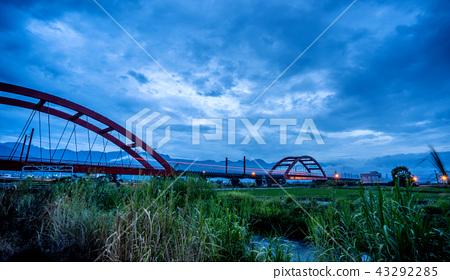 臺灣 花蓮 玉里 客城鐵橋 稻田 Hualien Red Bridge  台湾花蓮 43292285