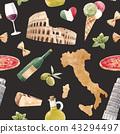 Watercolor italian pattern 43294497