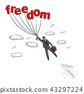 Businessman flying into sky with the word freedom 43297224