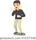 Coughing Man Holding Hot Drink 43297348
