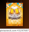 Oktoberfest party poster illustration with fresh lager beer and blue and white party flag on shiny 43297697