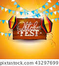 Oktoberfest Banner Illustration with Typography Lettering on Vintage Wood Board. Vector Traditional 43297699