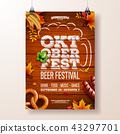 Oktoberfest poster vector illustration with typography letter, pretzel, sausage and falling autumn 43297701