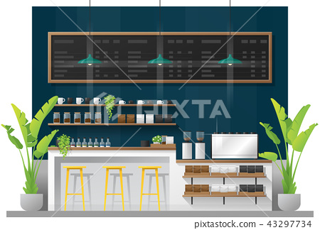 Interior scene of modern coffee shop counter bar 43297734