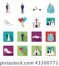 Wedding and Attributes cartoon,flat icons in set collection for design.Newlyweds and Accessories 43300771