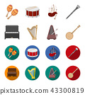 Banjo, piano, harp, metronome. Musical instruments set collection icons in cartoon,flat style vector 43300819