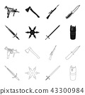 Sword, two-handed sword, gas balloon, shuriken. Weapons set collection icons in black,outline style 43300984