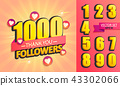 Set of numbers for Thank you followers Design. 43302066
