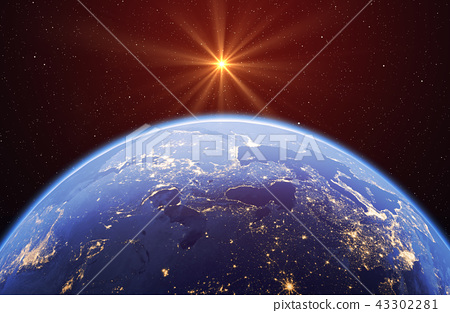 Planet earth with the sun and stars, global model isolated on bl 43302281