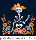Dia de Los Muertos greeting card, invitation. Mexican Day of the Dead. Skeleton with sombrero hat 43303516