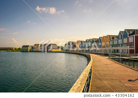 Skyline of Houten with famous Rainbow Houses in Netherlands 43304162