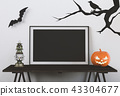 Halloween poster mock up in living room  43304677