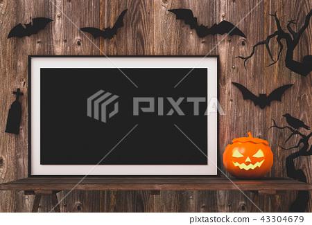 Halloween poster mock up in living room  43304679