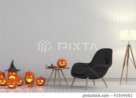 3D render Halloween party in living room   43304681