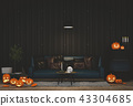 3D render Halloween party in living room   43304685