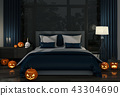 3D render of Halloween party in bed room  43304690