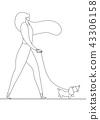 girl walking with dog 43306158