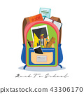 Open vector bag with school stationery and suplies 43306170