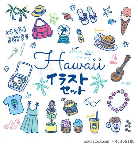 夏威夷海外旅行手拉的例證集合 43306186