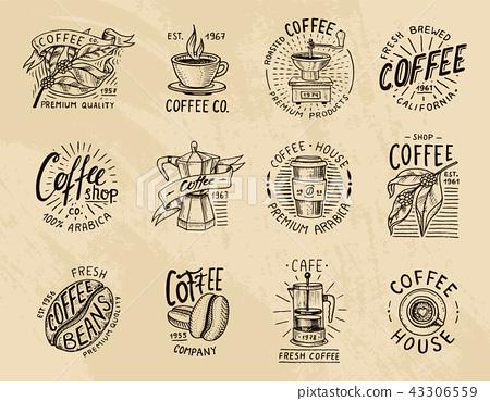 Coffee logos. modern vintage elements for the shop menu. Vector illustration. design decoration 43306559