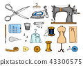 Set of sewing tools and materials or elements for needlework. Handmade equipment. Tailor shop for 43306575