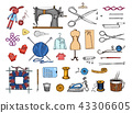 Set of sewing tools and materials or elements for needlework. Handmade equipment. Tailor shop for 43306605