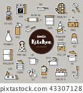 kitchen hand drawn doodle icons set. 43307128
