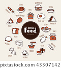 food hand drawn doodle icons set. 43307142