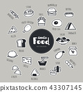 food hand drawn doodle icons set. 43307145