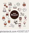 dessert hand drawn doodle icons set. 43307157